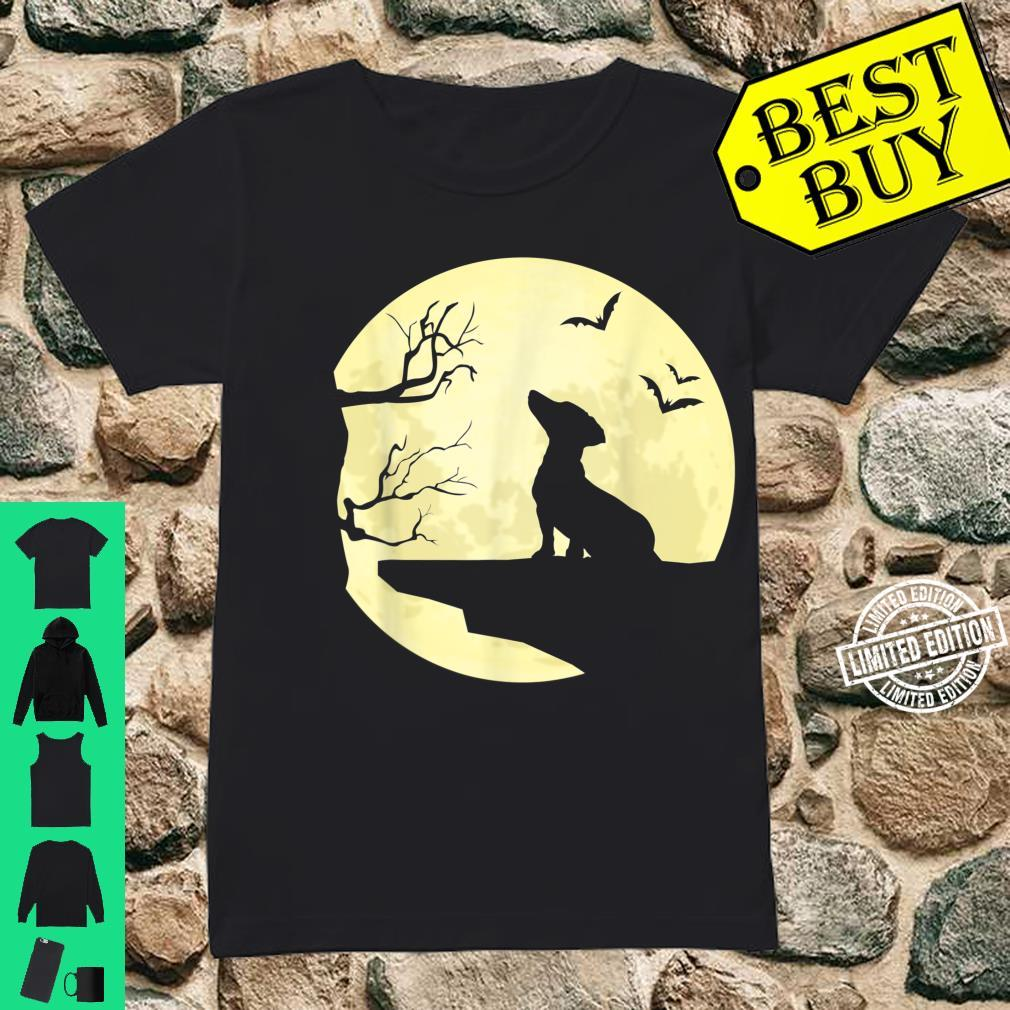 Dachshund Silhouette in Full Moon Dog Bats and Trees Shirt ladies tee