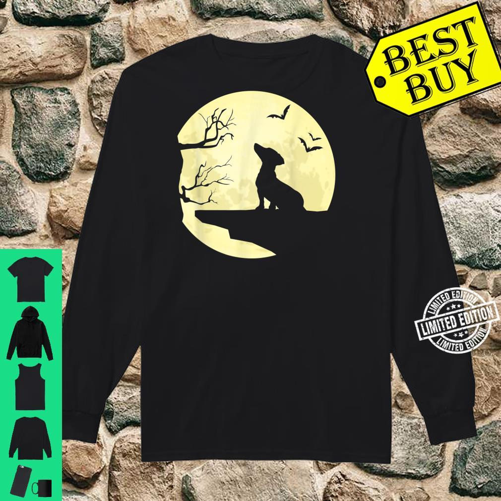 Dachshund Silhouette in Full Moon Dog Bats and Trees Shirt long sleeved
