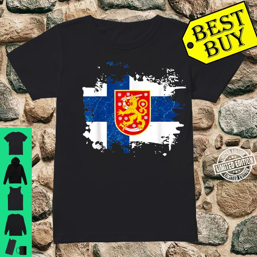 Finland Finnish Flag Coat Of Arms Shirt ladies tee